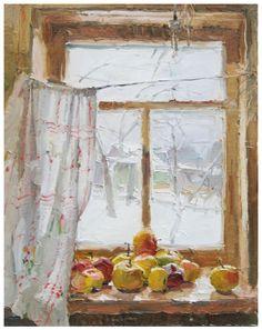 Apples on the Window by Anastasia Dukhanaina. Oil 16 x 20