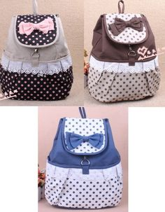Sweet Cute Trend Kawaii BOW Shoulders School Bag Backpacks Bookbags 3 colors | eBay