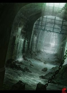 Dungeon maze, Enzhe Zhao on ArtStation at… Dark Fantasy Art, Fantasy Artwork, Fantasy Concept Art, Fantasy Art Landscapes, Fantasy City, Fantasy Places, Fantasy World, Fantasy Setting, Art Et Illustration