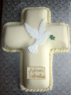 Confirmation Cross Cake with Royal Icing Dove Topper By sugardaze on… Christening Cake Girls, Baptism Cakes, Comunion Cakes, Christian Cakes, Bible Cake, Cross Cakes, Religious Cakes, Confirmation Cakes, First Communion Cakes
