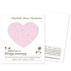 Heart Plantable Memorial Cards Plant this heart and forget-me-not flowers will grow in memory of your loved one.