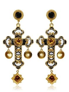dolce & gabana cross earrings | Dolce & Gabbana Medium Cross Drop Earrings in Gold - Lyst