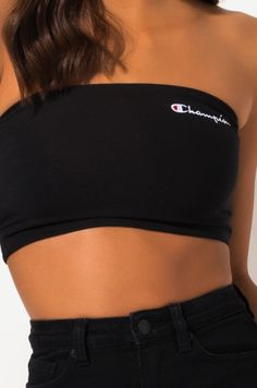 CHAMPION Chenille Script Logo Bandeau Tube Top In Scarlet, Black - Source by michellerechenburg - Teenage Outfits, Lazy Outfits, Sporty Outfits, Teen Fashion Outfits, Summer Outfits, Cute Outfits, Tube Top Outfits, Hijab Casual, Nike Pro Shorts