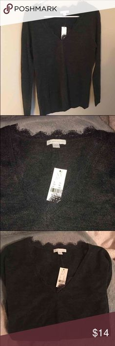 Charcoal grey sweater Charcoal gray/grey color. New with tag. Never worn. Has lace detail on the v neck New York & Company Sweaters V-Necks