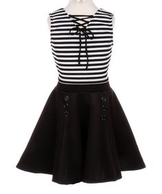 Take a look at this Black Stripe Crop Top & A-Line Skirt - Toddler & Girls today!