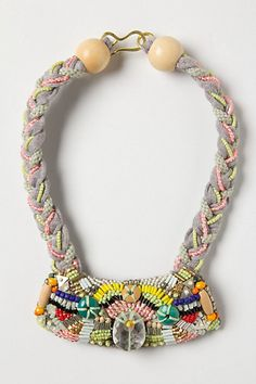 braided and beaded statement necklace