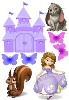 Princess Sofia Cake, Little Disney Princess, Princesa Sophia, Sofia The First Birthday Party, Flower Frame, First Birthdays, Cake Toppers, Party Themes, Clip Art