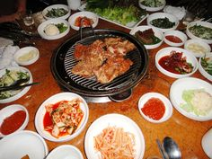 Korean BBQ at a small hole-in-the-wall restaurant in Seoul, South Korea.