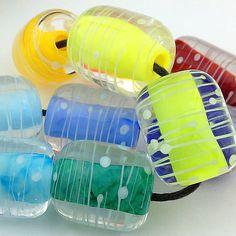 Pikalda :Handmade lampwork glass 10 beads colorful 'Colorful Tube' SRA make to order on Etsy, $50.00