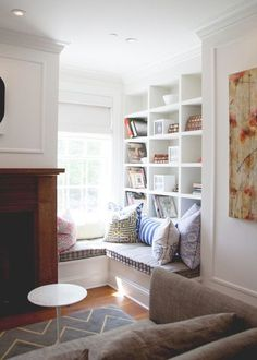 corner reading nook window seat in a living room
