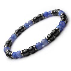 9114ef79e31 Mode tendance BRACELET Homme Perles en pierre Agate bleu facette 6mm +  hématite + anneaux Métal