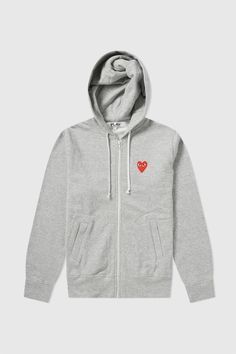Wood Wood - Comme des Garçons Play - Women's Zip Hoodie in Grey Zip Hoodie, Pullover, Female Friends, Fall Winter Outfits, Hoodies, Sweatshirts, Aesthetic Clothes, Hooded Jacket, Style Inspiration