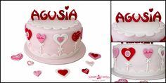 Różowy tort na chrzciny, serduszka, kwiatki, tort chrzcielny, chrzciny, Tarnów