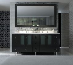 Modernize your bathroom remodel with an Ace Americano 73 inch Double Sink Bathroom Vanity Set in Black Finish. http://www.listvanities.com/discount-bathroom-vanities.html These black bathroom vanities are a chic choice, complete with satin nickel finish hardware and soft-closing dovetail drawers. Ceramic, under-mount sinks with space for a widespread faucet finish out the pure white countertops.