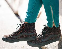 Suede Leopard Sk8-Hi Slims and Deep Teal Moto Skinny Denim>>>I love all of this! the shoes and the pants