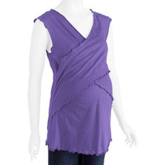 Maternity Short Sleeve Faux Wrap Around Top--Easy For Nursing