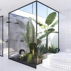 Cuando la #selva #tropical entra en #casa...literalmente! 🌿🌴🍍When the #rainforest comes #home... literally!🌳🍒🌱 #hacheintercalada #decoración Plants In Bathroom, Nature Bathroom, Diy Bathroom Decor, Bathroom Storage, Garden Bathroom, Jungle Bathroom, Rustic Bathroom Designs, Design Bathroom, Bathroom Remodeling