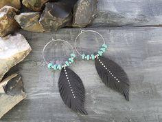 Tribal earrings. Turquoise earrings. Feather by VelmaJewelry