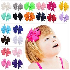 DOTASI 40pcs of 20 Colors Baby Ribbon Bow Barrettes Hair Accessories Hairpin for Girls Kids Children * You can get more details by clicking on the image.(This is an Amazon affiliate link and I receive a commission for the sales)