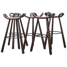Set of Five Sergio Rodrigues Style Brutalist Bar Stools | From a unique collection of antique and modern stools at https://www.1stdibs.com/furniture/seating/stools/