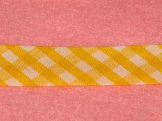 Yellow Gingham Bias Tape Single Fold 1/2 inch wide