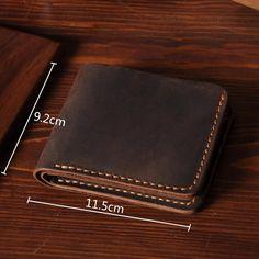 Handmade Men's Short Leather Wallet Money Purse Card Holder MT03 - LISABAG