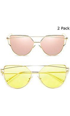 1666377e3f5 Deargles Sunglasses for Women Cat Eye Mirrored Flat Lenses Metal Frame Sunglasses  Gold Pink + Gold Yellow.