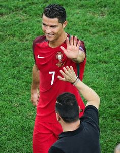 Cristiano Ronaldo of Portugal celebrates after winning the Euro 2016 quarterfinal football match between Poland and Portugal at the Stade Velodrome. Football Match, Football Players, Portugal Soccer, We Are The Champions, 2016 Pictures, James Rodriguez, World Football, European Championships, Cristiano Ronaldo