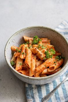This creamy vegan roasted red pepper pasta is loaded with flavor and so easy to make! (Vegan+ gluten-free)
