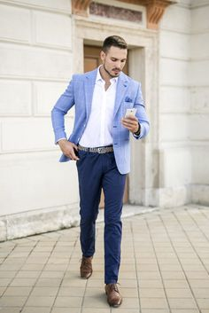 Blue Blazer Outfit Men, Chinos Men Outfit, Blazer Outfits Men, Blue Suit Jacket, Look Blazer, Mens Fashion Blazer, Light Blue Suit, Light Blue Blazers, Tailor Made Suits