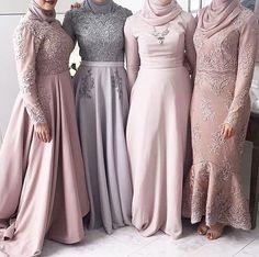Neck Muslim High Neck Long Sleeves Grey Bridesmaid Dress with Kerchief Applique Lace A-line Wedding Party Dresses Muslim Prom Dress, Hijab Prom Dress, Hijab Gown, Hijab Evening Dress, Evening Dresses, Hijab A Enfiler, Mode Hijab, Muslim Fashion, Hijab Fashion