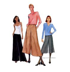 Vogue PALAZZO PANTS Pattern Wide Leg CULOTTES Gauchos Pattern Vogue 7178 by DesignRewindFashions Vintage & Modern Sewing Patterns