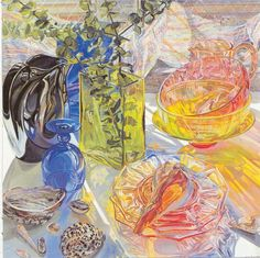 """Janet Fish:  """"Glass and Shells""""- inspiration for still life painting- watercolor"""