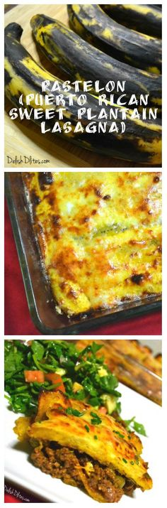 Pastelón (Puerto Rican Sweet Plantain Lasagna) This sounds delicious because I'm a vegetarian I will substitute the chop meat with black beans Puerto Rican Dishes, Puerto Rican Recipes, Cuban Recipes, Beef Recipes, Cooking Recipes, Healthy Recipes, Puerto Rican Beans, Boricua Recipes, Recipies