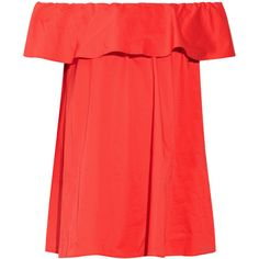 HATCH Chloe off-the-shoulder ruffled stretch-poplin top (£82) ❤ liked on Polyvore featuring tops, blouses, tomato red, frilly blouse, off shoulder blouse, loose blouse, ruffle top and ruffle blouse