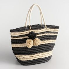 Black and Cream Striped Straw Tote - v1