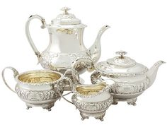 Sterling Silver Four Piece Tea and Coffee Service - Regency Style- Antique George IV  SKU: A3720 Price  GBP £4,250.00  http://www.acsilver.co.uk/shop/pc/Sterling-Silver-Four-Piece-Tea-and-Coffee-Service-Regency-Style-Antique-George-IV-67p2918.htm