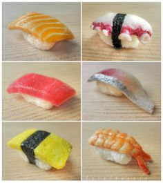 miniature sushi - assorted nigiri details by FatalPotato.deviantart.com on @deviantART