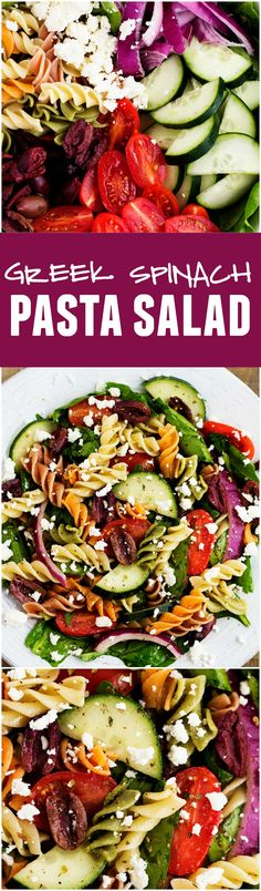 This Greek Spinach Pasta Salad is full of flavors, color and textures! Topped with a red wine vinaigrette this salad is the BEST!