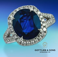 This amazing diamond ‪#‎sapphire‬ ring features a gorgeous oval #sapphire surrounded by a diamond halo. Visit your local ‪#‎GottliebandSons‬ retailer and ask for style number 29617. http://www.gottlieb-sons.com/product/detail/29617
