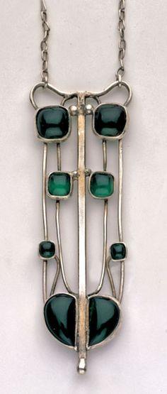 Rekinss me of Charles Rennie Macintosh.  Necklace | Edgar Gilstrap Simpson. 1867-1945. Glasgow Style Pendant. Silver Chalcedony. British, c.1900
