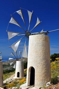 Windmills in Lasithi, Crete, Greece