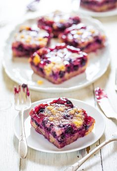 Blueberry Pie Bars - Super soft, easy bars with a creamy filling, streusel topping and abundance of juicy blueberries! Sooo darn good!