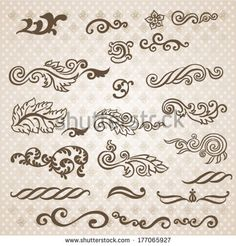 Vector vintage baroque engraving floral scroll filigree design by Tueris, via Shutterstock