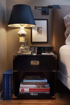 Like the combo / vignette of this nightstand - lamp, picture, clock, storage, books