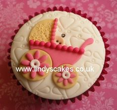 Baby shower pram cupcake by Lindy Smith by Lindy's cakes, via Flickr