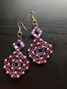 handmade beaded earrings purple drop earring  Free by fatash1