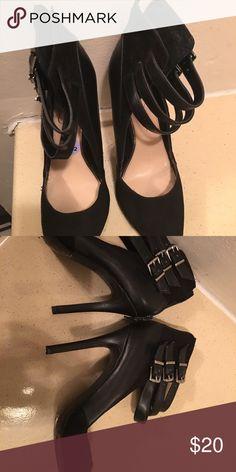 Black heels Black part suede ankle strap heels Jessica Simpson Shoes Heels