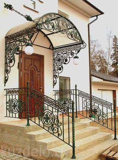 Door Gate Design, Railing Design, Bungalow Haus Design, House Design, Exterior Design, Interior And Exterior, Wrought Iron Decor, House Plants Decor, Balcony Railing