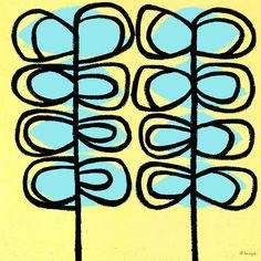 Modern Vines Blue Canvas Art